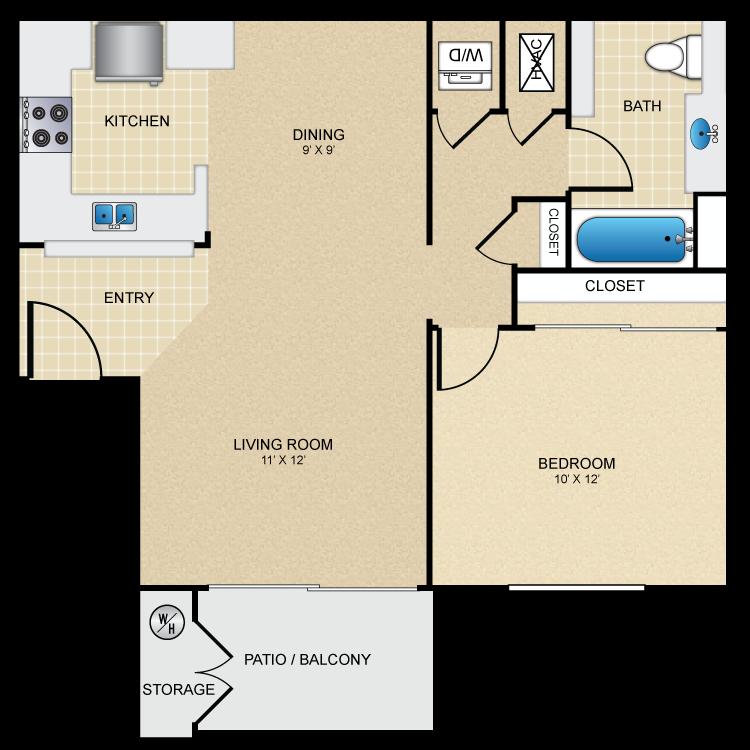 Floor plan image of 1 Bed 1 Bath Furnished