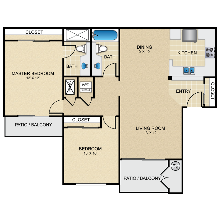 Floor plan image of 2 Bed 2 Bath Furnished