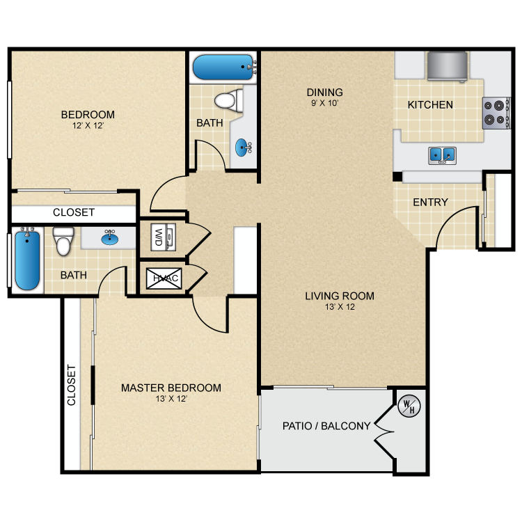 Floor plan image of 2 Bed 2 Bath Dual Master