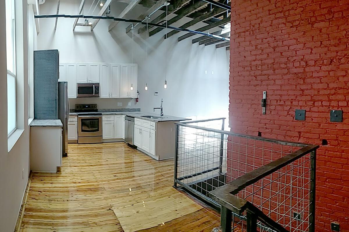 a room with brick walls