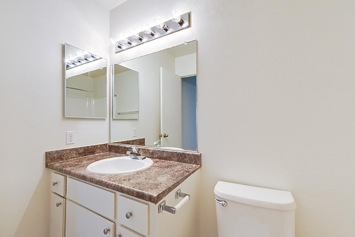 a white sink and a mirror