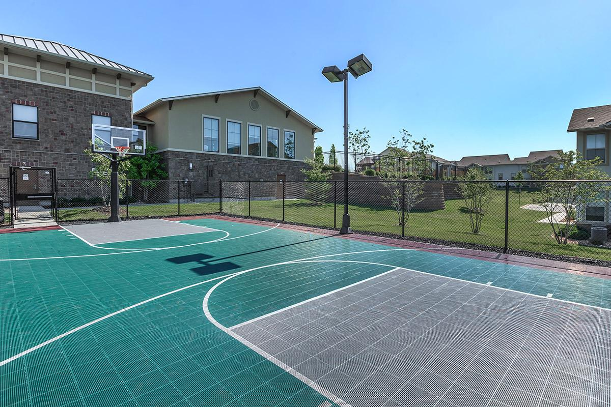 a building with a basketball court