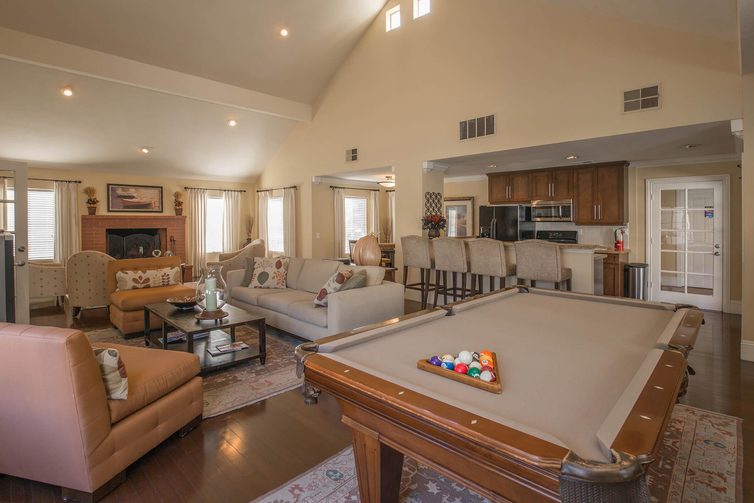 River Ridge Apartment Homes community room with pool table