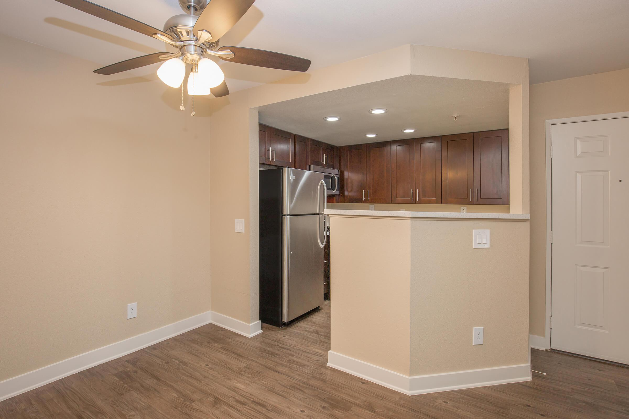 Vacant dining room and kitchen