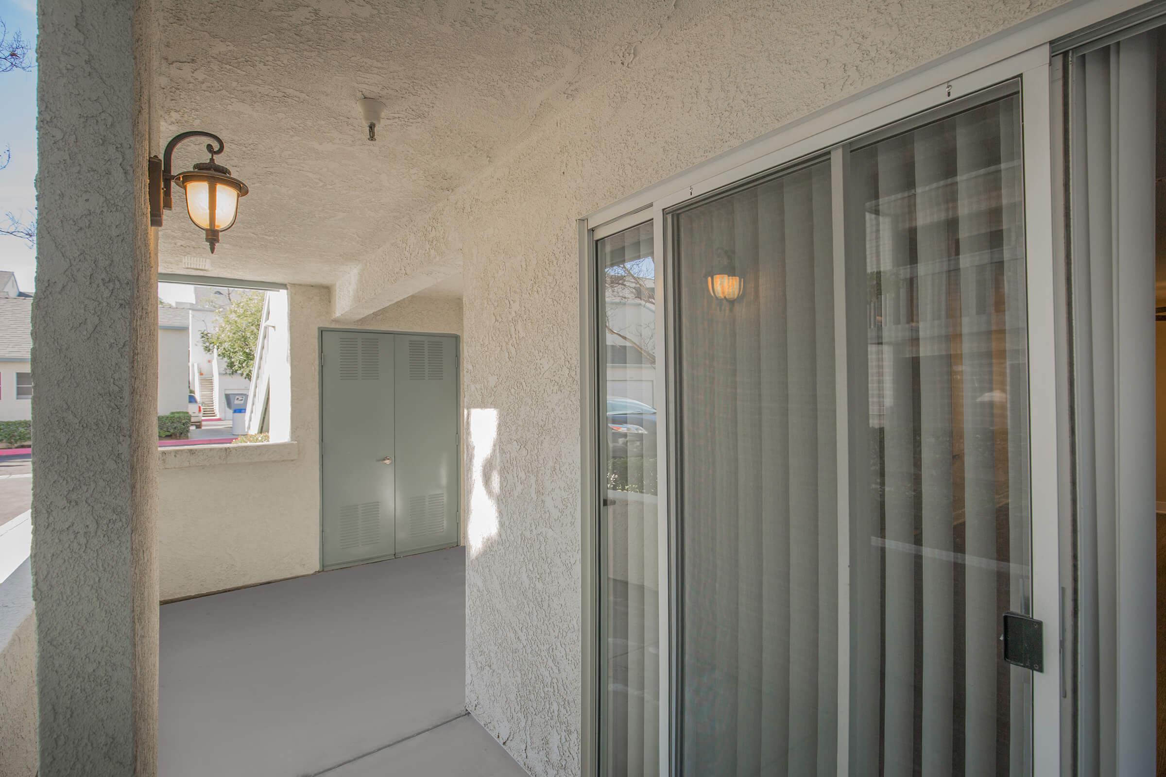 Patio with glass sliding doors