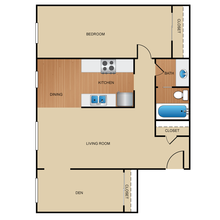 1 Bed 1 Bath with Den floor plan image