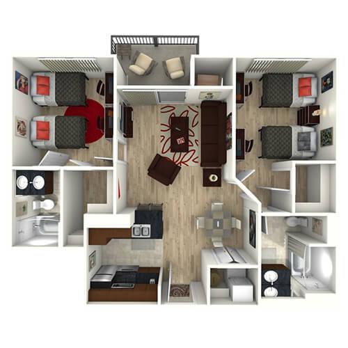 Floor plan image of 2 Bed 2 Bath