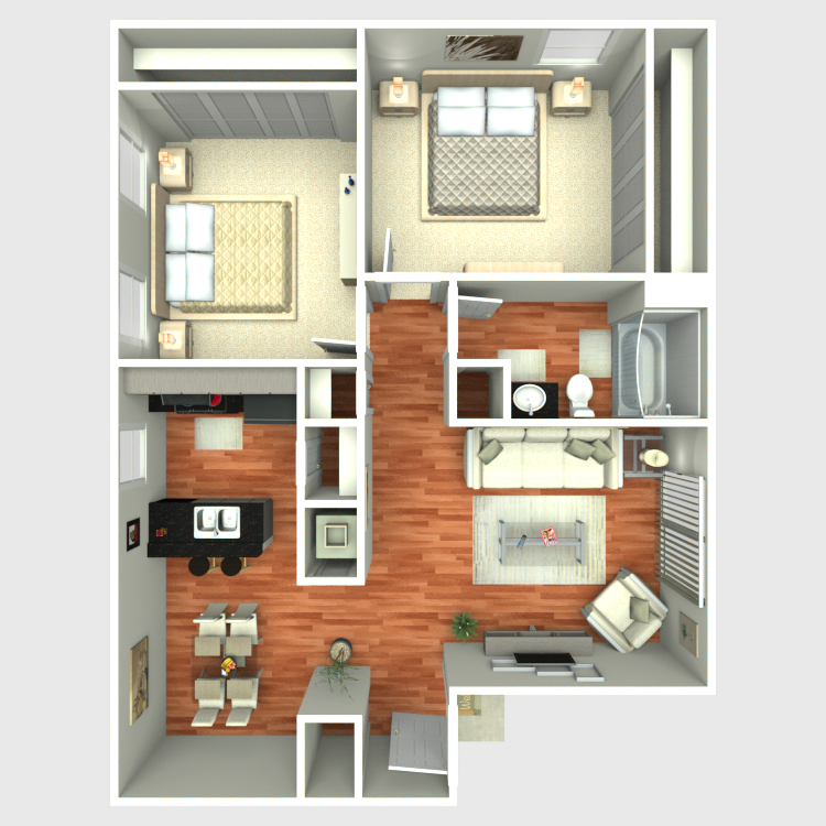 Floor plan image of 2 Bed 1 Bath B1
