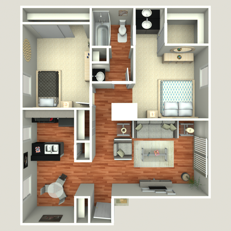 Floor plan image of 2 Bed 1 Bath B2