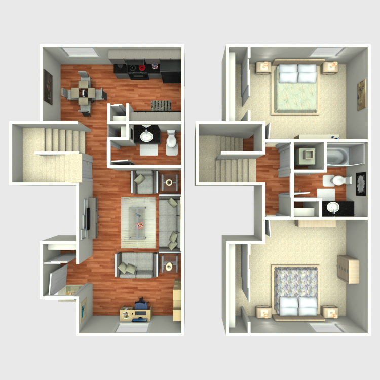 Floor plan image of 2 Bed 1.5 Bath B4
