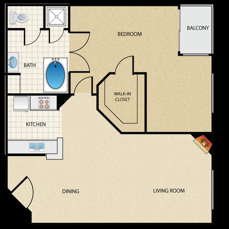 Floor plan image of Plan E 1 Bed 1 Bath