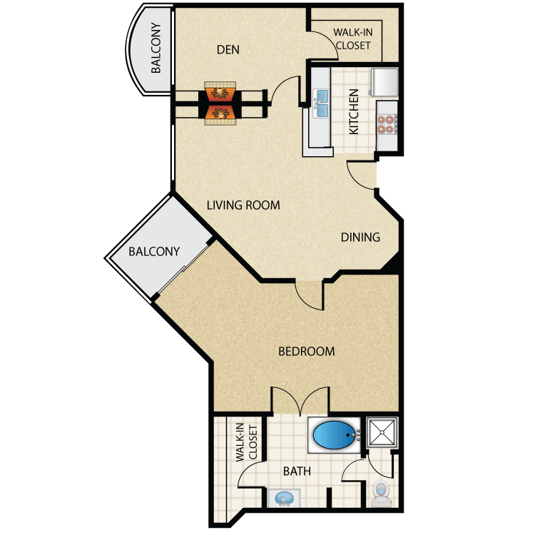 Floor plan image of Plan F 1 Bed 1 Bath with Den