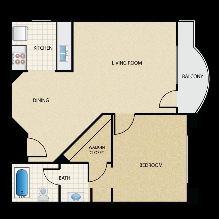 Floor plan image of Plan G 1 Bed 1 Bath