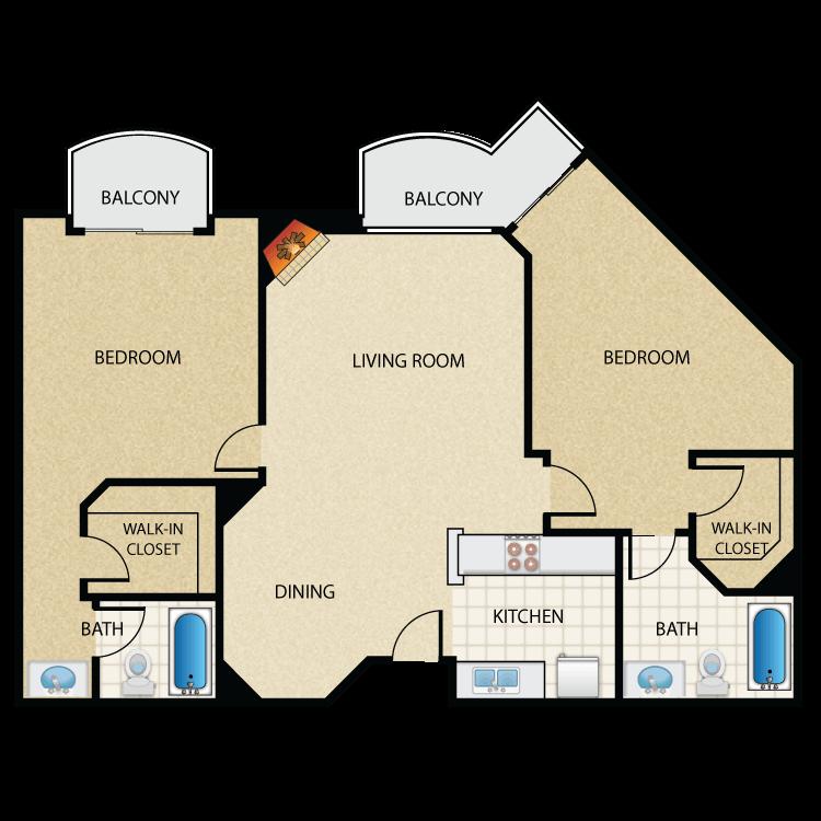 Floor plan image of Plan H 2 Bed 2 Bath