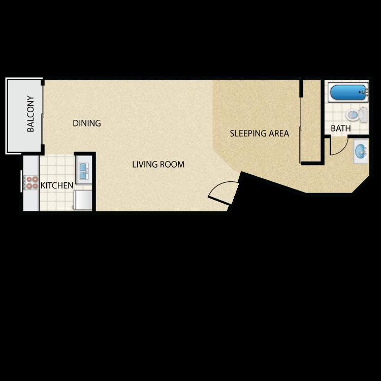Floor plan image of Plan J Studio 1 Bath