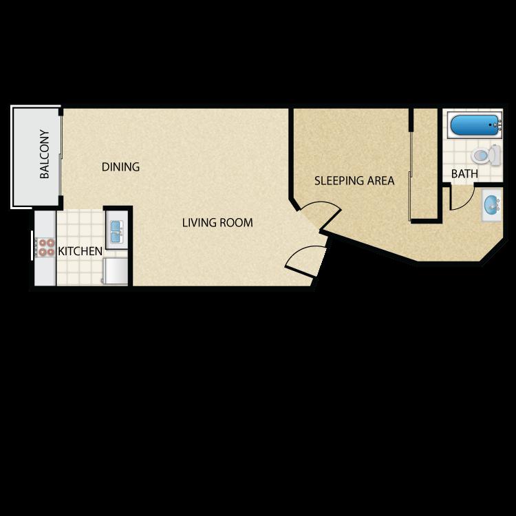 Floor plan image of Plan K 1 Bed 1 Bath