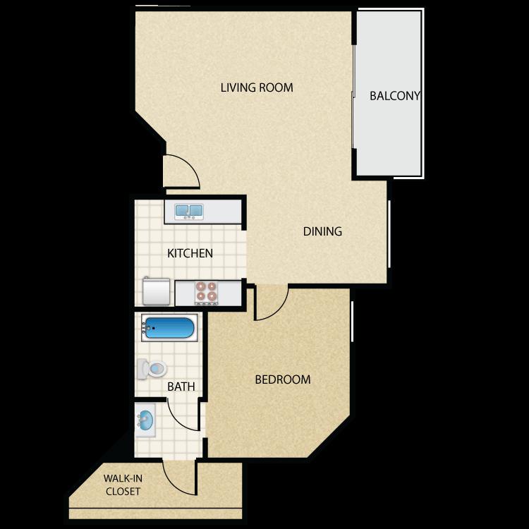 Floor plan image of Plan L 1 Bed 1 Bath