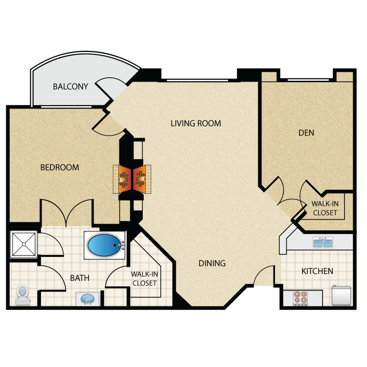 Floor plan image of Plan M 1 Bed 1 Bath with Den