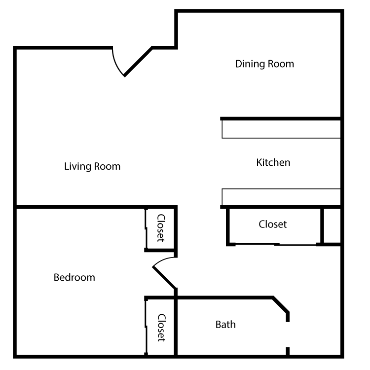 Floor plan image of Plan A, B 1 Bed 1 Bath