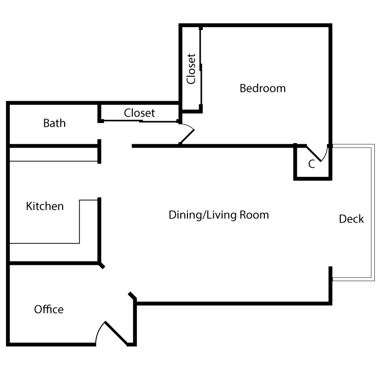 Floor plan image of Plan 1A 1 Bed 1 Bath
