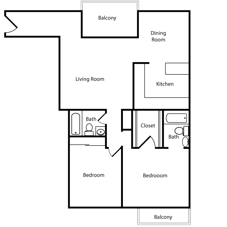 Floor plan image of Plan 2A, 3A 2 Bed 2 Bath