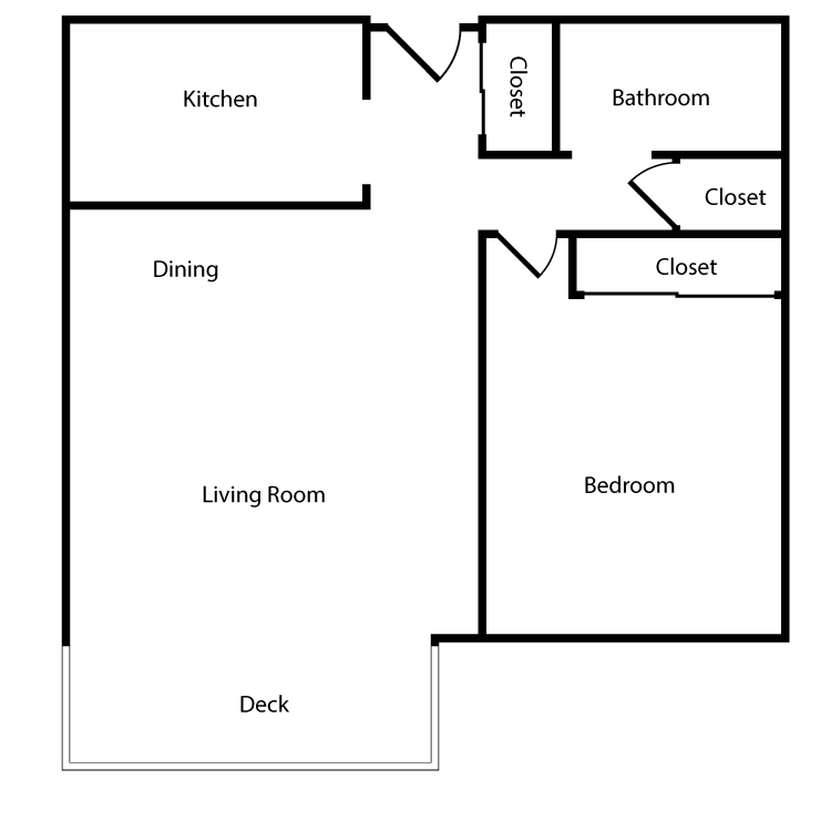 Floor plan image of Plan 1B 1 Bed 1 Bath