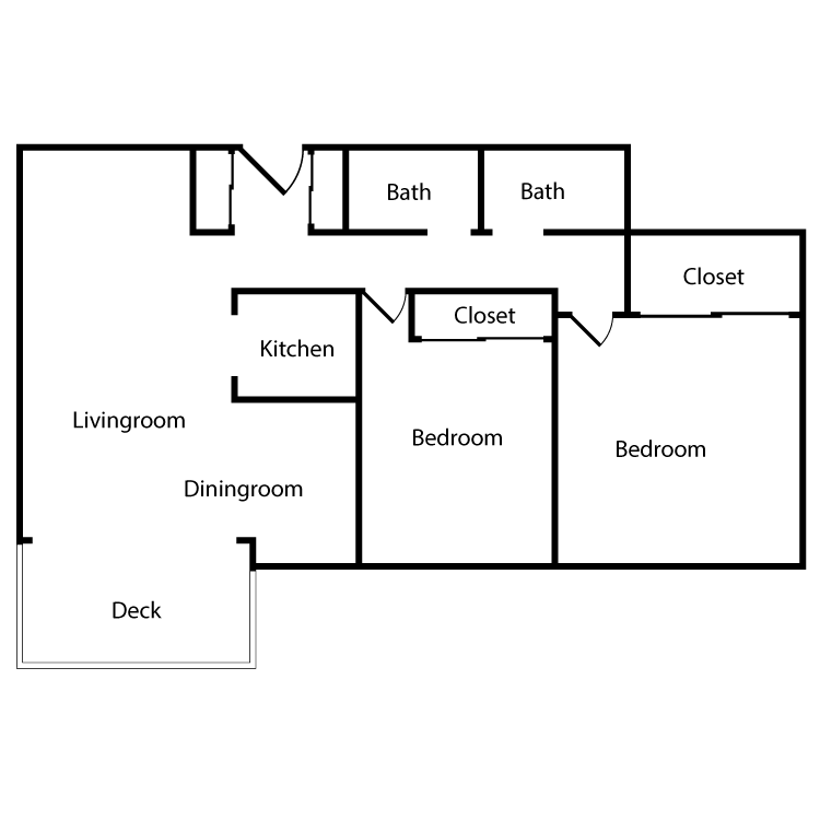 Floor plan image of Plan 1C, 2E, 3E 2 Bed 2 Bath