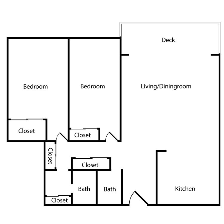 Floor plan image of Plan 2C, 3C 2 Bed 2 Bath