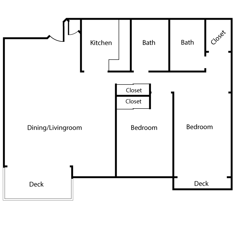 Floor plan image of Plan 2D, 3D 2 Bed 2 Bath