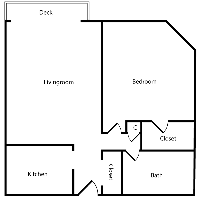 Floor plan image of Plan 2F, 3F 1 Bed 1 Bath