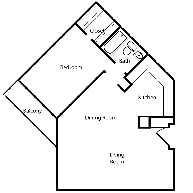 Floor plan image of Plan 2G, 3G 1 Bed 1 Bath