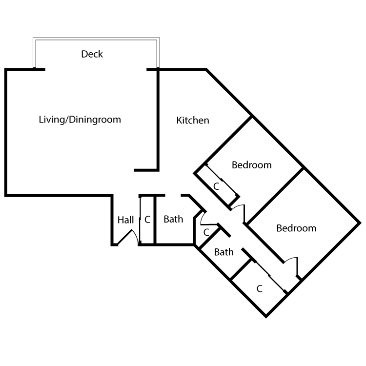 Floor plan image of Plan 2K, 3K 2 Bed 2 Bath