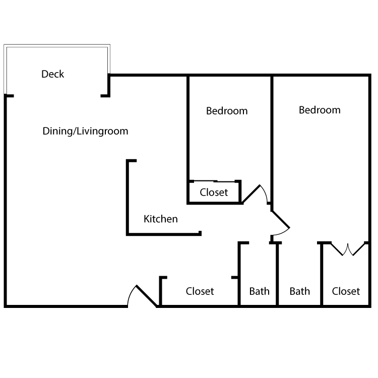 Floor plan image of Plan 2M, 2L, 3M, 3L 2 Bed 2 Bath