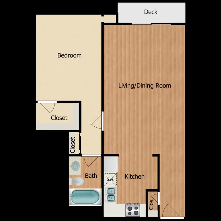 Floor plan image of Plan 2B, 3B 1 Bed 1 Bath