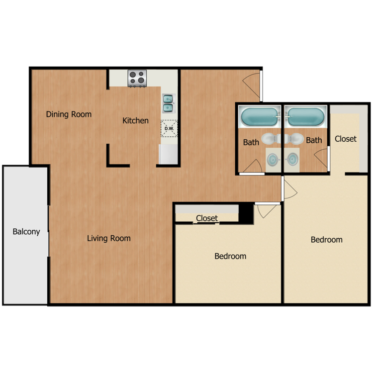 Floor plan image of Plan 1E, 1F, 2H, 2J, 3H, 3J 2 Bed 2 Bath