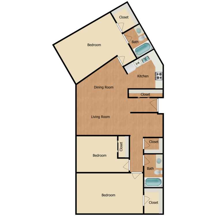Floor plan image of Plan 1D 3 Bed 2 Bath