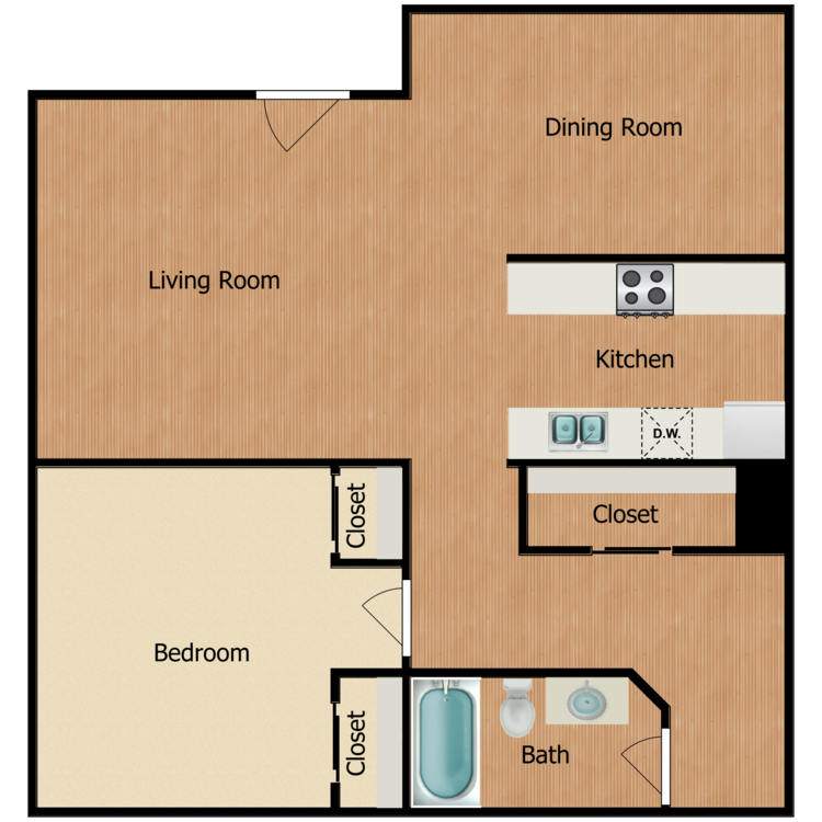 Floor plan image of Plan A, B 1 Bed 1 Bath
