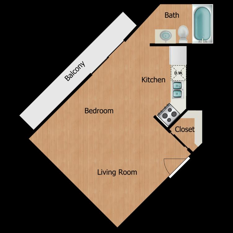 Floor plan image of Plan 1G Studio