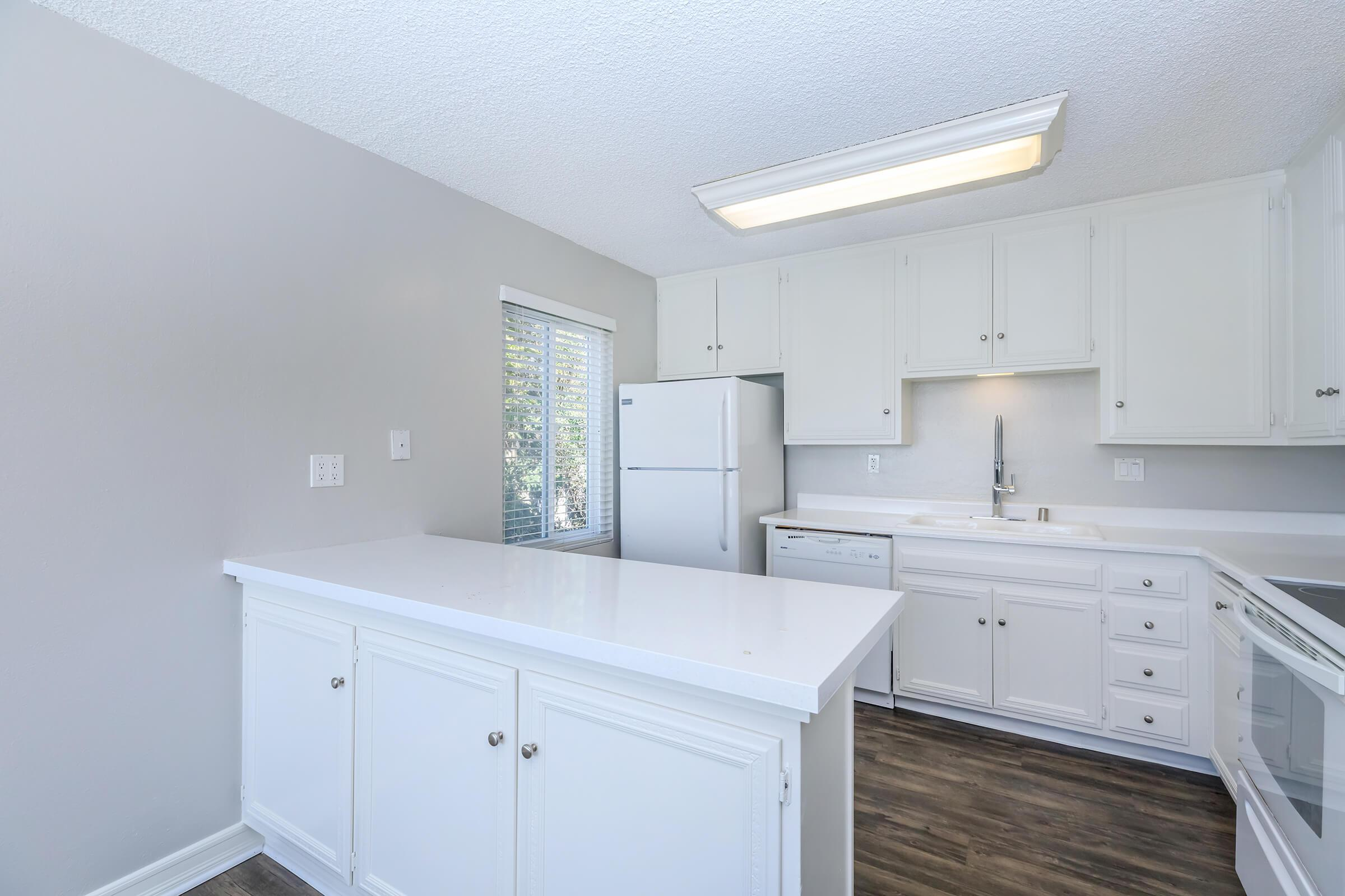 a kitchen with a sink and a refrigerator