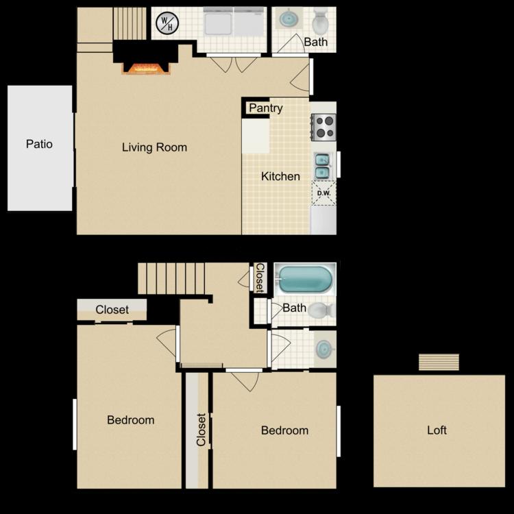 Floor plan image of 2 Bed 1.5 Bath Loft