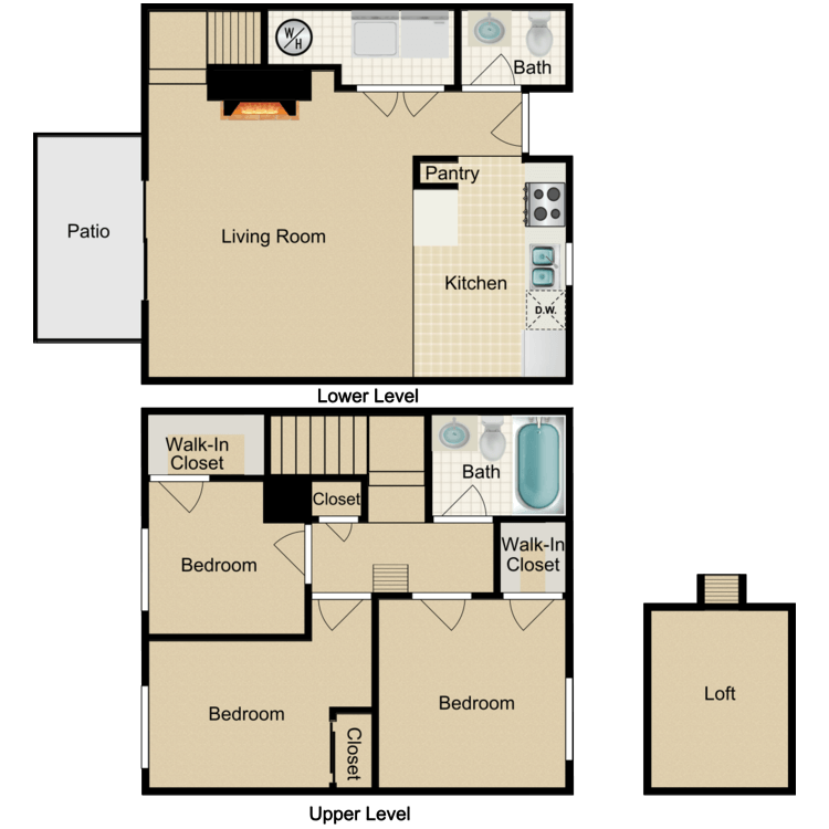 Floor plan image of 3 Bed 1.5 Bath Loft