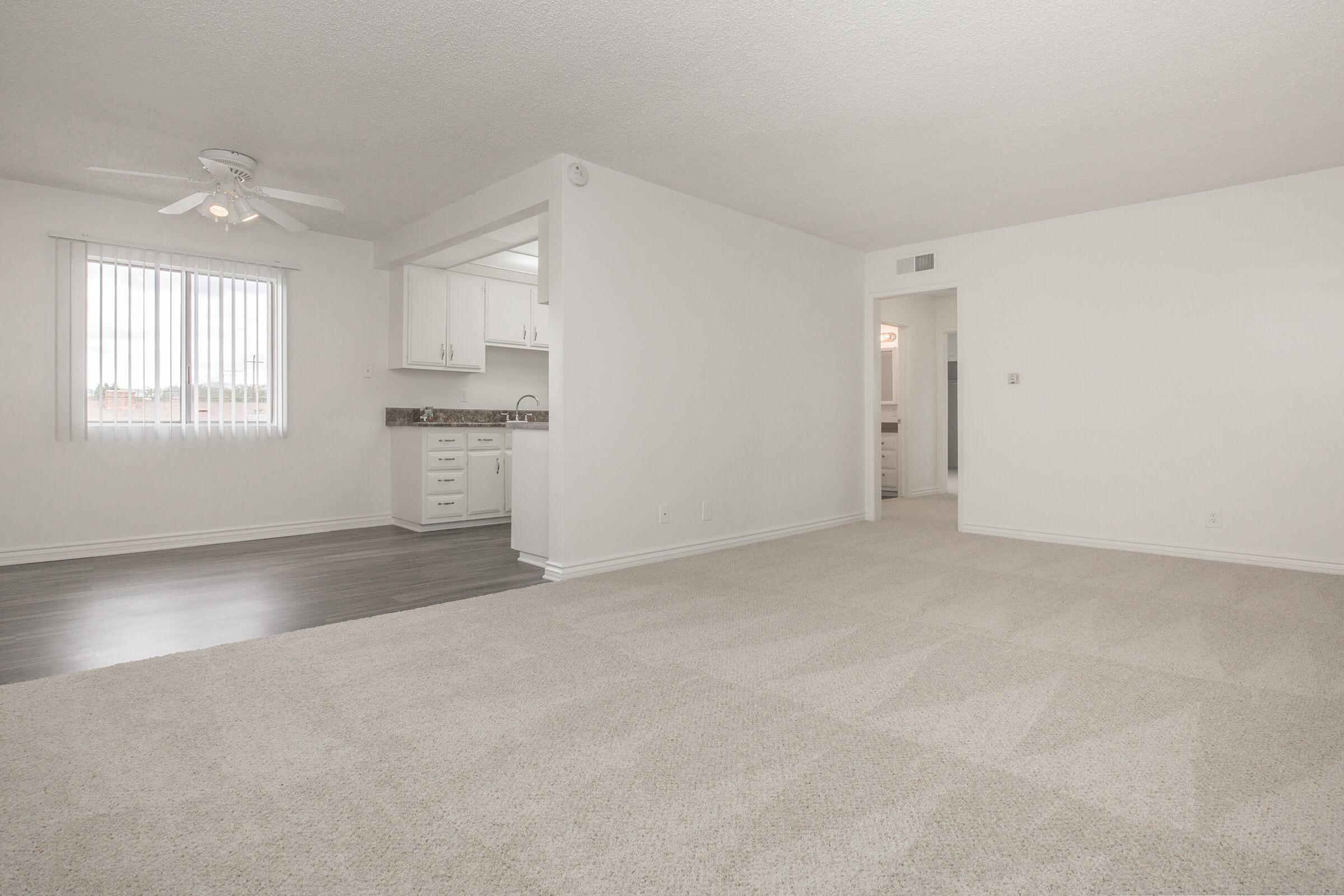 Unfurnished living room with carpet