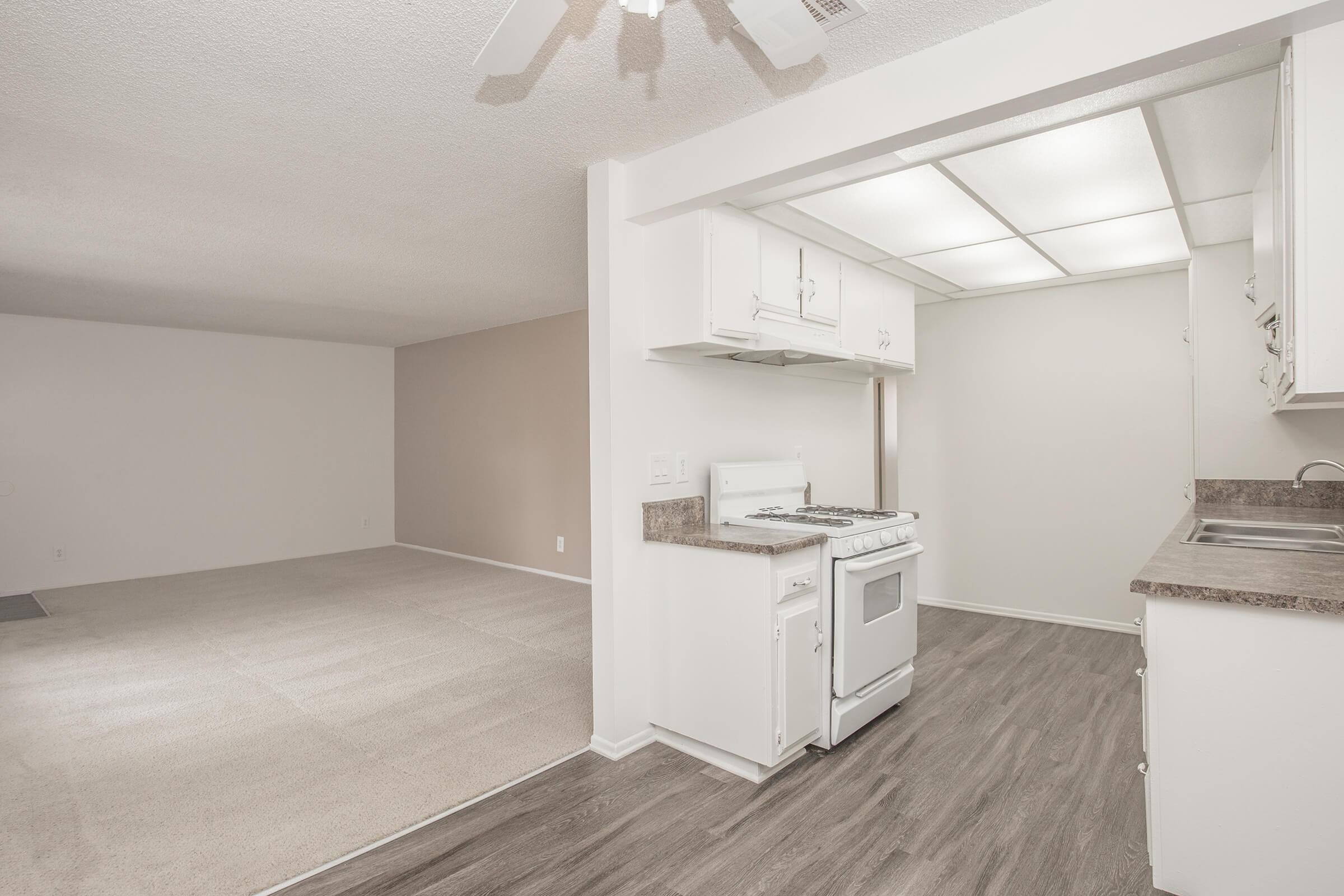 Kitchen with carpeted living room in background