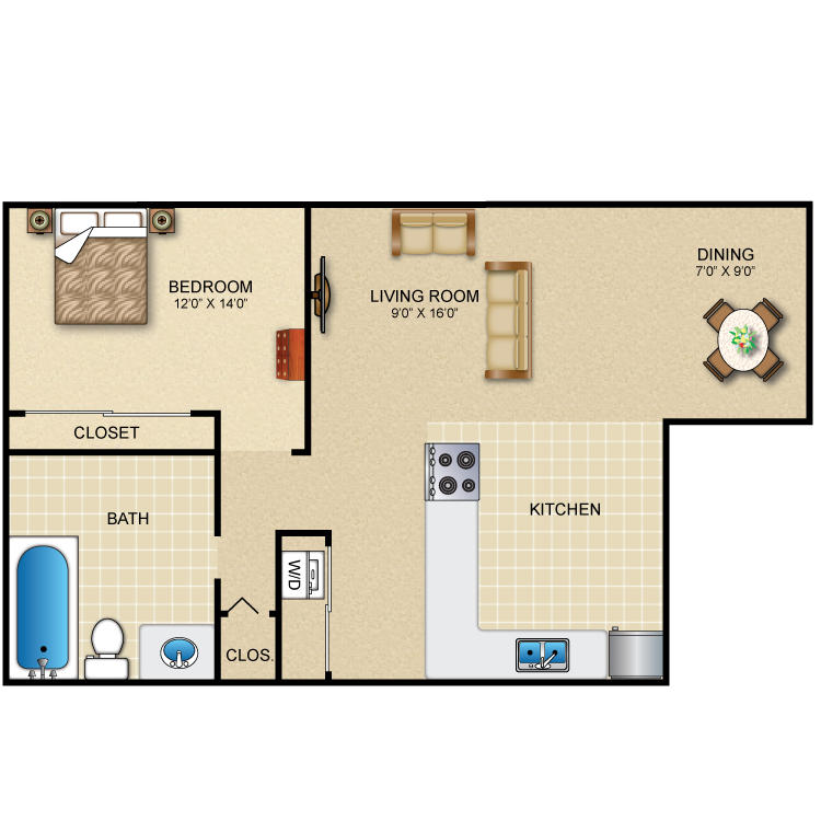 Floor plan image of 1 Bed 1 Bath Dining Room