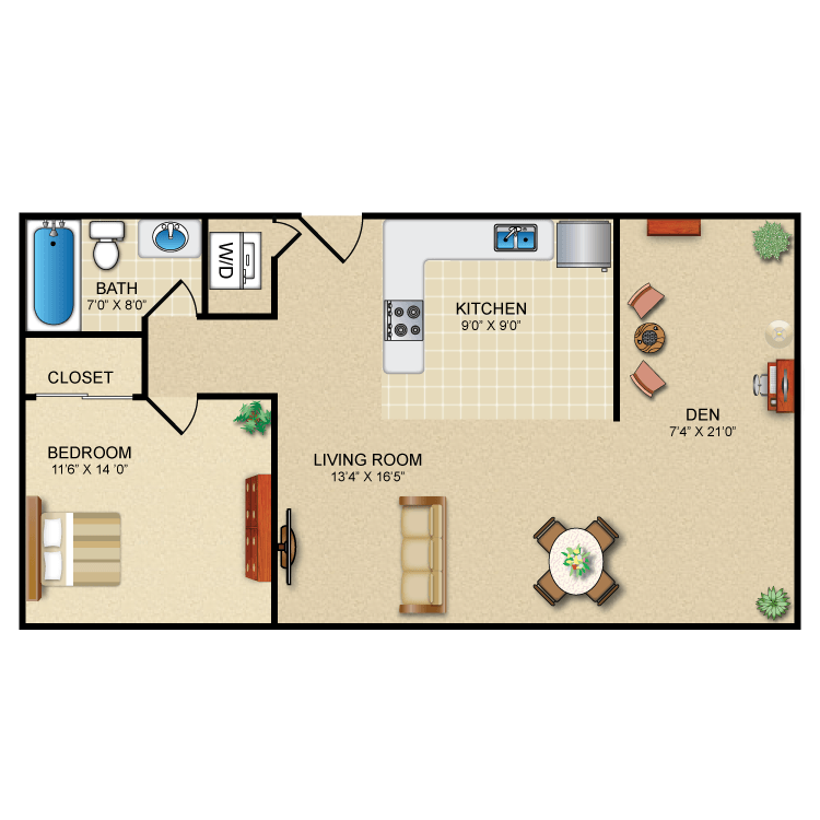 Floor plan image of 1 Bed 1 Bath + Den