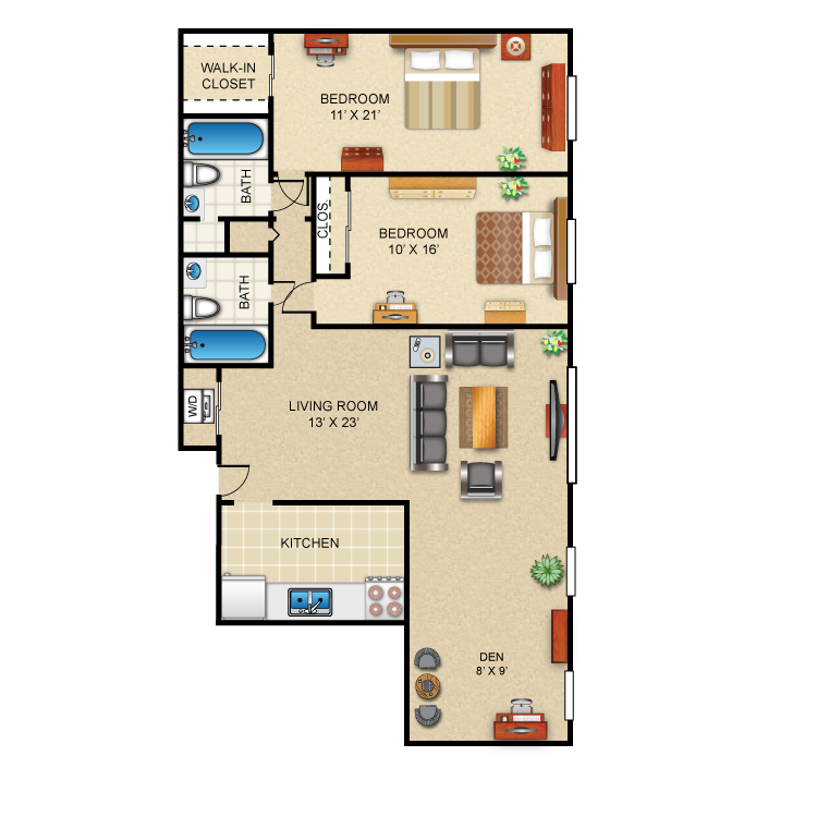 Floor plan image of 2 Bed 2 Bath (+ Den)