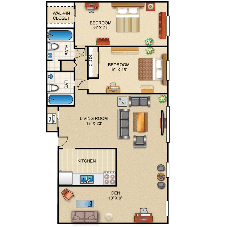 Floor plan image of 2 Bed 2 Bath Deluxe (+ Den)