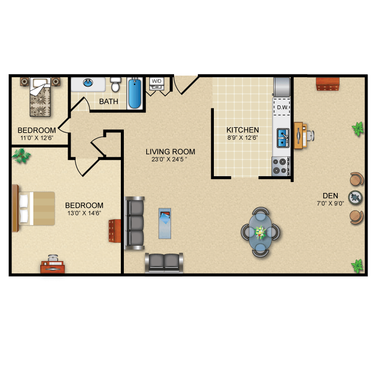 Floor plan image of 2 Bed 1 Bath Deluxe (+ Den)