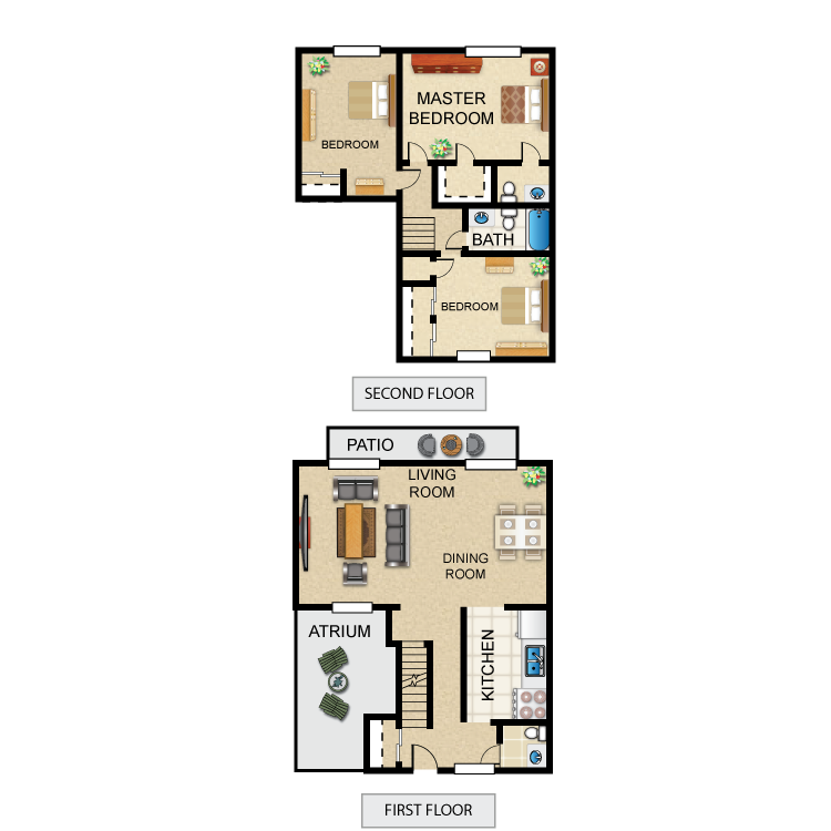 Floor plan image of 3 Bed 1 Full and Two 1/2 Bath Grand Deluxe Townhome