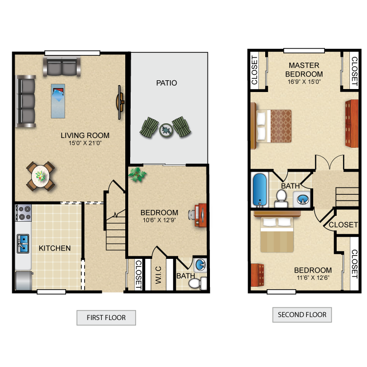 Floor plan image of 3 Bed 1.5 Bath Townhome Deluxe